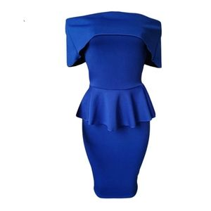 NEW Blue peplum off the shoulder dress fitted